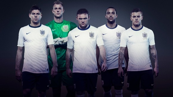Theo Walcott and Jack Wilshere England home kit 2013