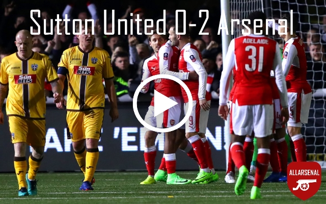 [Match Highlights] Sutton United 0-2 Arsenal – All The Goals And Best Bits