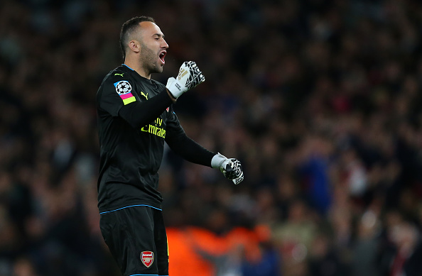 LONDON, ENGLAND - OCTOBER 19: David Ospina of Arsenal celebrates after they take a 1-0 lead during the UEFA Champions League match between Arsenal FC and PFC Ludogorets Razgrad at Emirates Stadium on October 19, 2016 in London, England. (Photo by Catherine Ivill - AMA/Getty Images)
