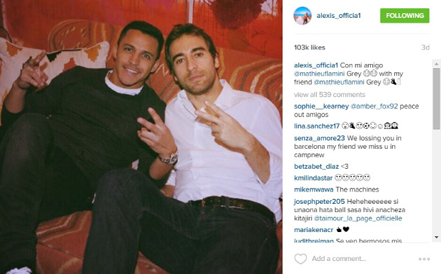 Alexis Sanchez Mathieu Flamini Instagram