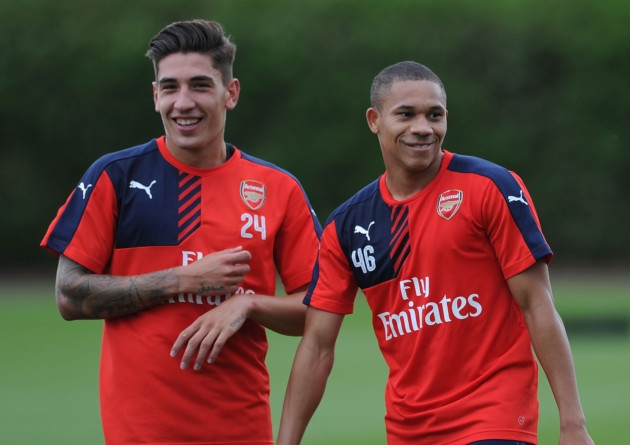 Hector Bellerin Wellington Silva Arsenal training