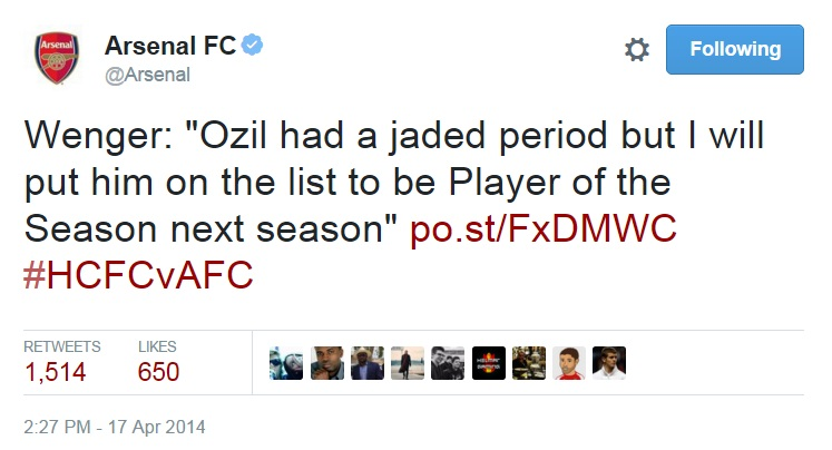Wenger on Ozil